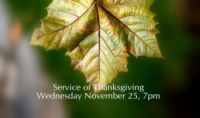 Service of Thanksgiving - Nov 25 2015 7:00 PM